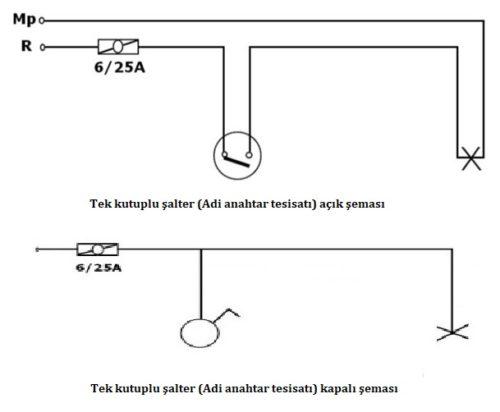 adi anahtar tesisatı şeması, aydınlatma devreleri