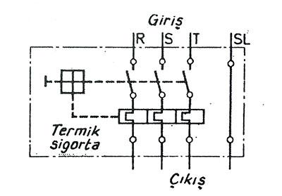 termik sigortalı motor emniyet şalterinin devresi