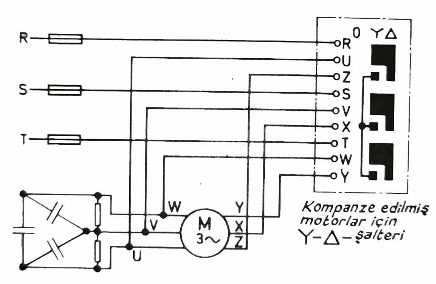 Yıldız üçgen şalterli ve kompanze edilmiş bir trifaze motor