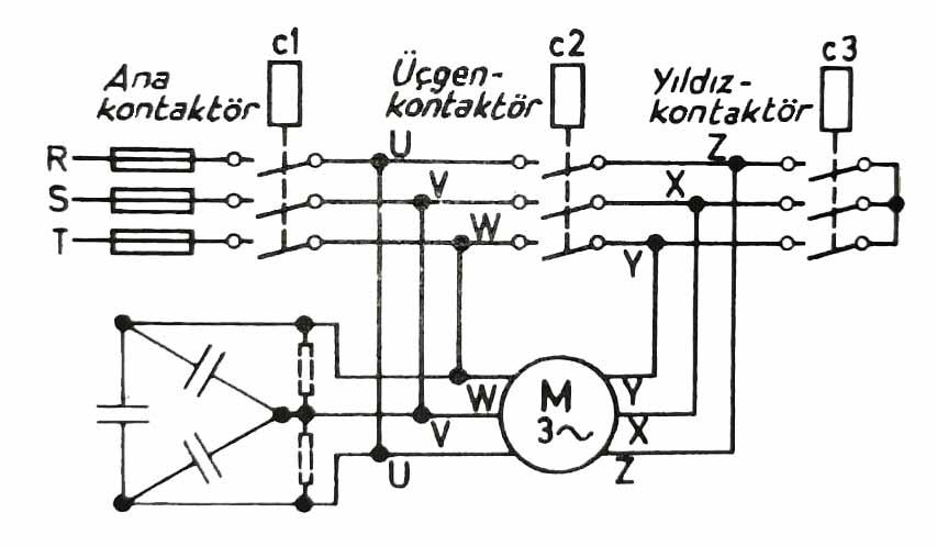 Yıldız üçgen kontaktörlü ve kompanze edilmiş bir trifaze motor