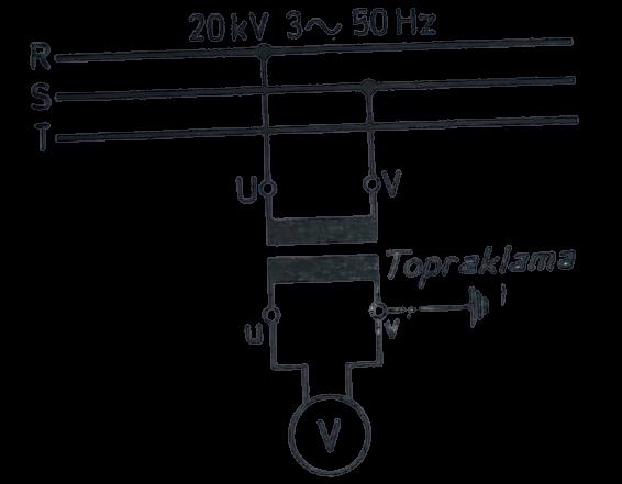 bir gerilim trafosu şebekeye bağlantı şeması