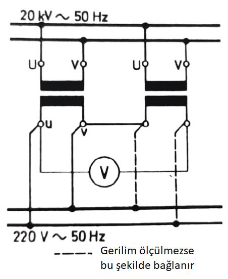 tek fazlı trafoların paralel bağlanması, faz durumlarının bir voltmetre ile kontrolü