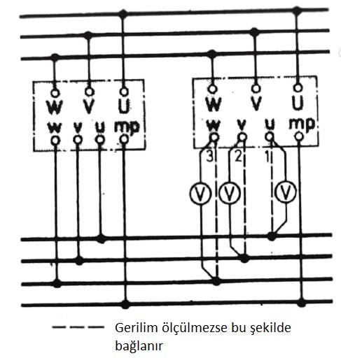 üç fazlı trafoların paralel bağlanması, faz durumlarının bir voltmetre ile kontrolü
